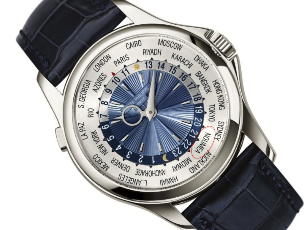 Patek World Time includes Noumea on the dial